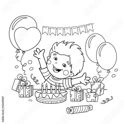 Kontur strony kolorowanie kreskówka chłopca z prezentami na wakacje. Urodziny. Kolorowanka dla dzieci