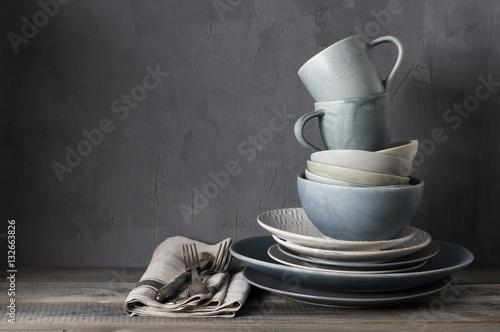 Set of grey crockery