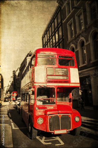 Photo vintage style picture of a Routemaster in London