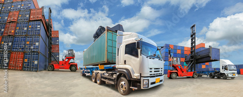 Fotografia Truck with Industrial Container Cargo for Logistic Import Export business