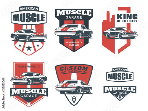 Klasyczne logo samochodu, emblematy i ikony.