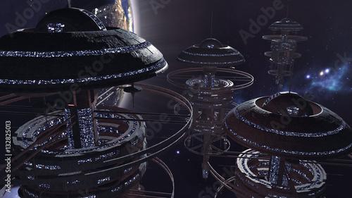 Fotografie, Obraz 3d rendering. Powerful set of spacestations in futuristic scene