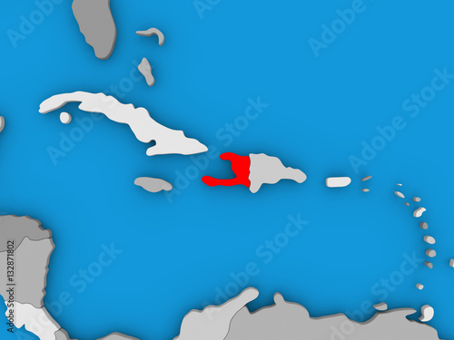 Fotografiet Haiti in red on globe