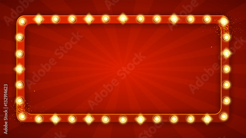 Fotografia Red rectangular retro frame with glowing lamps