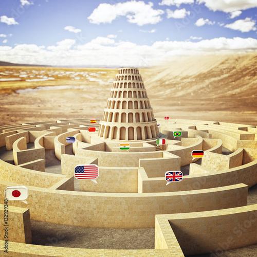 Vászonkép babel tower concept