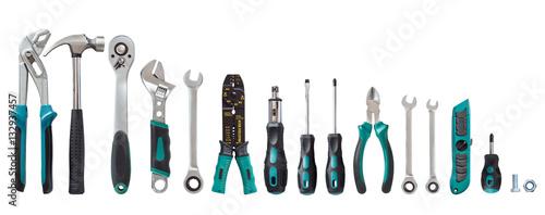 Fotografia set of tools, Many tools isolated on white background