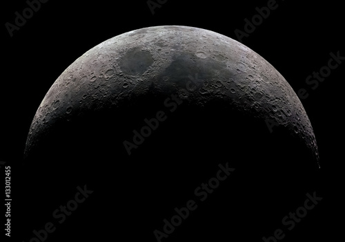 High detail 32 panel mosaic of the waxing crescent moon taken at 2.700mm focal length.