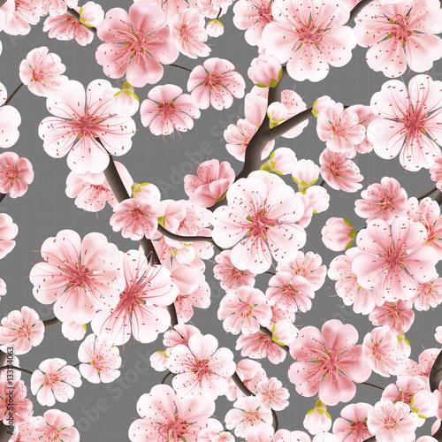 Seamless pink Sakura flowering cherry. EPS 10 Fototapeta