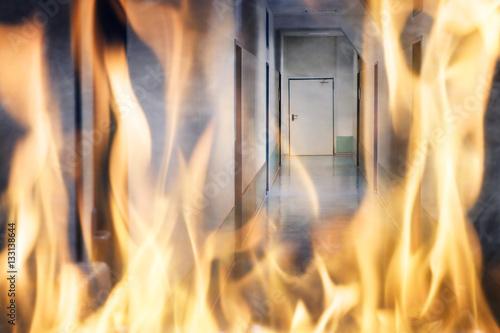 Fotografia Fire Burning On The Corridor Of The Building
