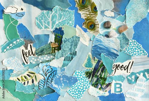 Wallpaper Mural Creative Atmosphere art mood board collage sheet in color idea  blue ,green, aqu