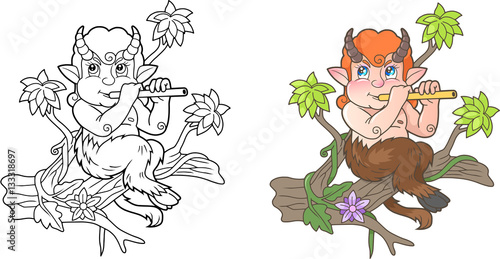 Fototapeta cute satyr playing a flute while sitting on a branch