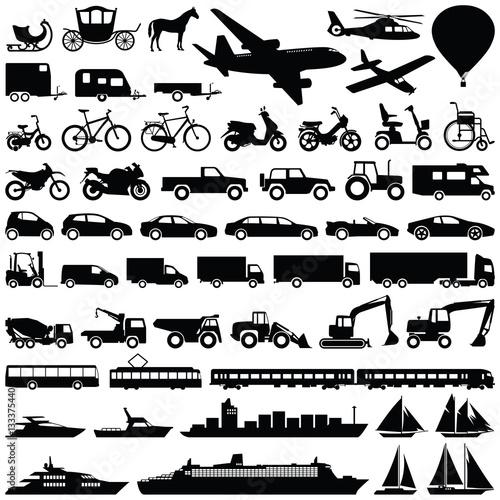 Obraz na płótnie Transport icon collection - vector silhouette
