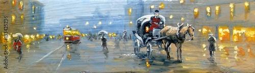 Street, old city.Oil paintings.