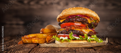 Fotografie, Tablou Home made hamburger with lettuce and cheese