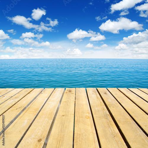 Fotografia Wood, blue sea and sky