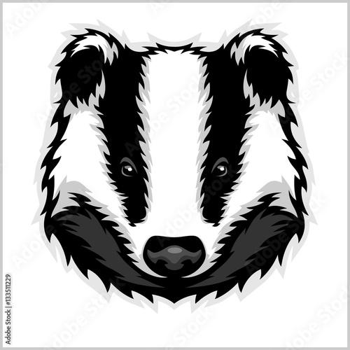 Cuadros en Lienzo Badger Head black and white