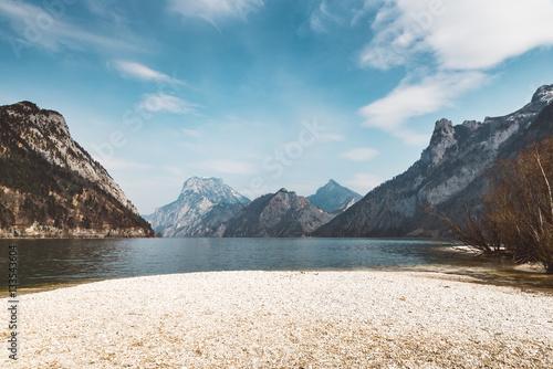Stampa su Tela Shore of an austrian Lake