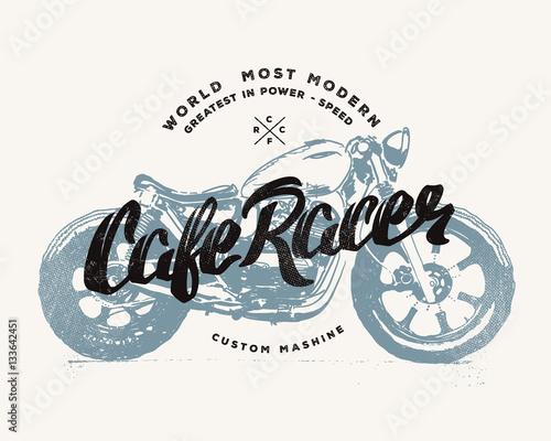 Valokuvatapetti Cafe racer Vintage Motorcycle hand drawn t-shirt print