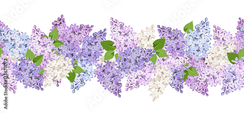 Canvas-taulu Vector horizontal seamless background with lilac flowers.