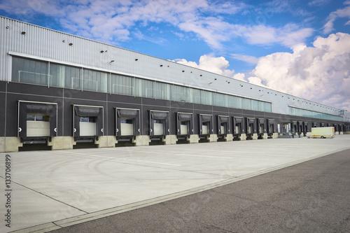 Tablou Canvas dock cargo doors at big warehouse