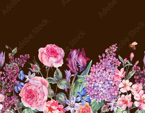 Vintage garden watercolor purple floral spring seamless border