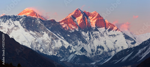 Panoramic view of Nepalese Himalayas in Solukhumbu District (Sagarmatha National Park) at sunset: Nuptse peaks, Everest, Lhotse