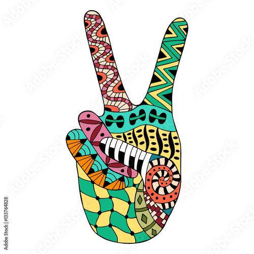 Fotografie, Obraz Hand drawn hippie peace symbol for anti stress colouring page.