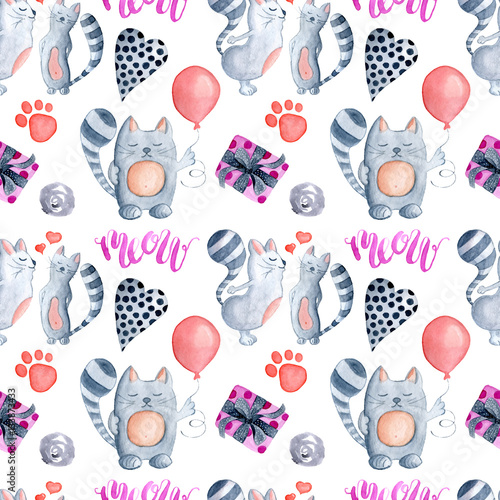 Valentine's Day greeting card template, seamless pattern