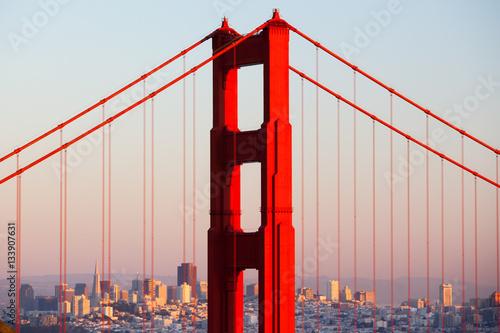 Canvas Print Golden Gate View At Dusk