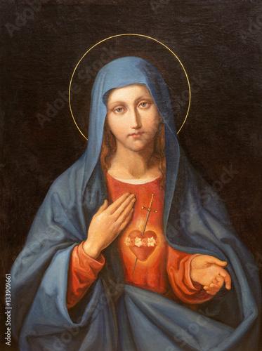 Ταπετσαρία τοιχογραφία VIENNA, AUSTRIA - DECEMBER 19, 2016: The painting of Heart of Virgin Mary in church kirche St