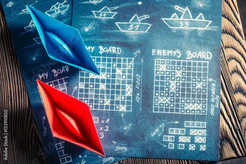 Carta da parati Vintage battleship paper game as a battle concept