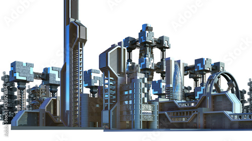 Stampa su Tela 3D Illustration of a futuristic city architecture with skyscrapers and modern glass structures, for fantasy or science fiction backgrounds, with the clipping path included in the file
