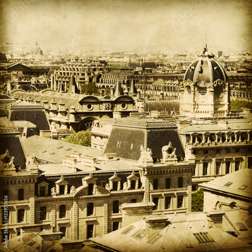 View of Paris. Grunge and retro style.