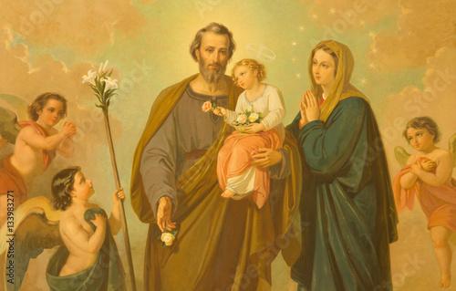 Αφίσα ROME, ITALY - MARCH 10, 2016: The painting of Holy Family in church Basilica di Santa Maria Ausiliatrice by unknown artist of 20
