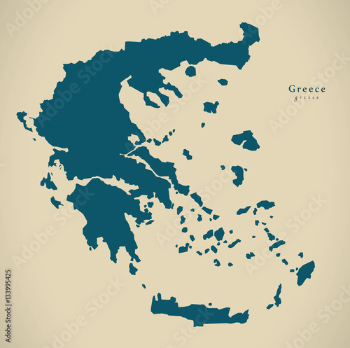 Canvas Print Modern Map - Greece country silhouette GR illustration
