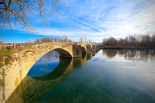 Buriano Bridge, Tuscany, famous background of La Gioconda Fototapeta