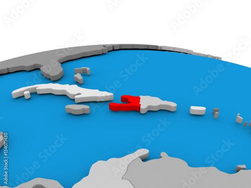 Fotografiet Haiti on globe in red