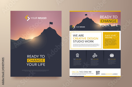 Stampa su Tela poster flyer pamphlet brochure cover design layout space for photo background, v