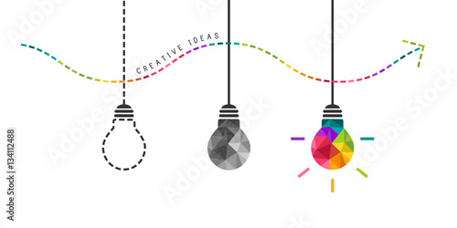 Developing creativity concept with colorful bulb in the end