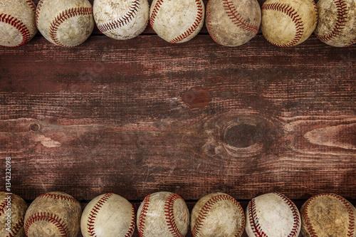 Canvas Print Old Vintage Baseball Background. Focus in center