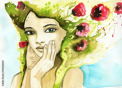 Watercolor portrait of a woman.