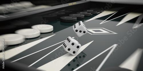 Fotografia Black and white backgammon board. 3d illustration