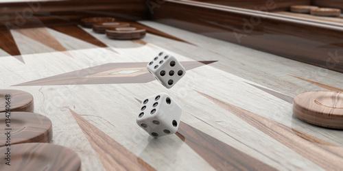 Tela Wooden backgammon board. 3d illustration