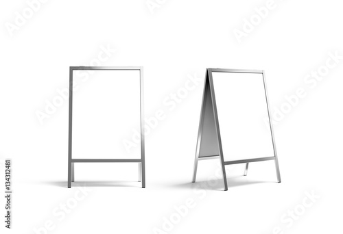 Fototapeta Blank white metallic outdoor stand mockup set, isolated, front and side view, 3d rendering