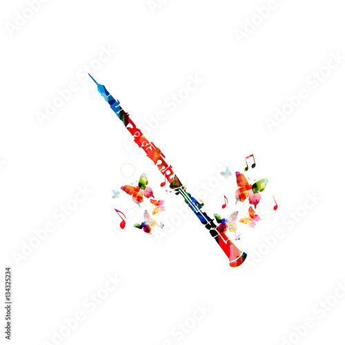 Slika na platnu Colorful cassical flute with music notes and butterflies isolated
