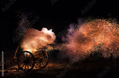 Photo Cannon blast with sparkles