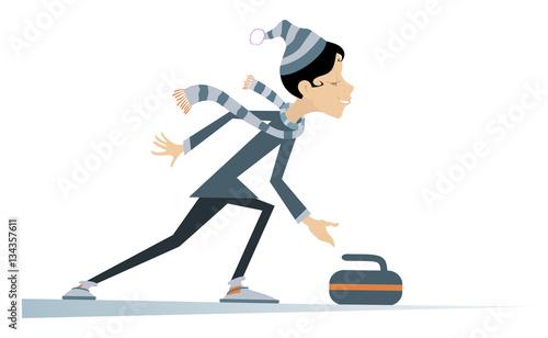 Tableau sur Toile Woman plays curling. Cartoon curling player woman illustration