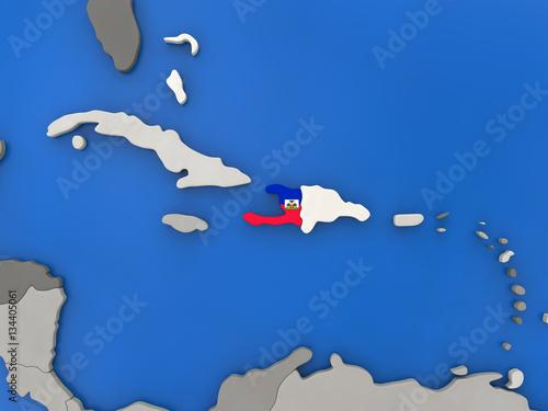 Canvastavla Haiti on globe