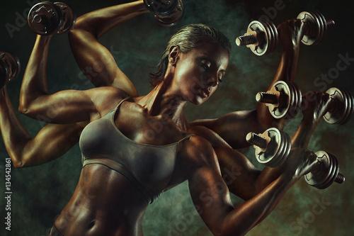 Wallpaper Mural Strong woman bodybuilder