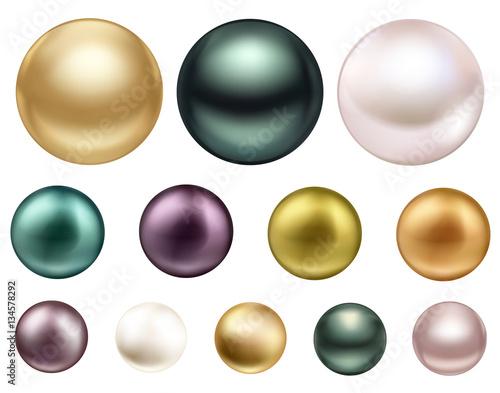Stampa su Tela Large colored jewelry pearl with glitterSea pearls